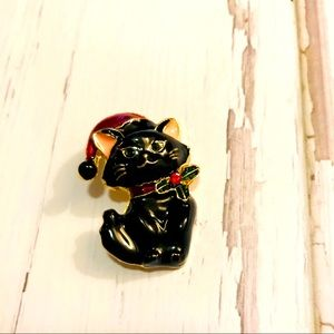Jewelry - Black cat holiday pin brooch